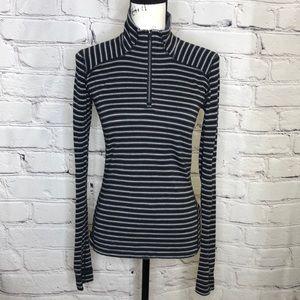 Smartwool 3/4 Zip Merino Wool Lightweight Sweater - black/gray stripe - medium